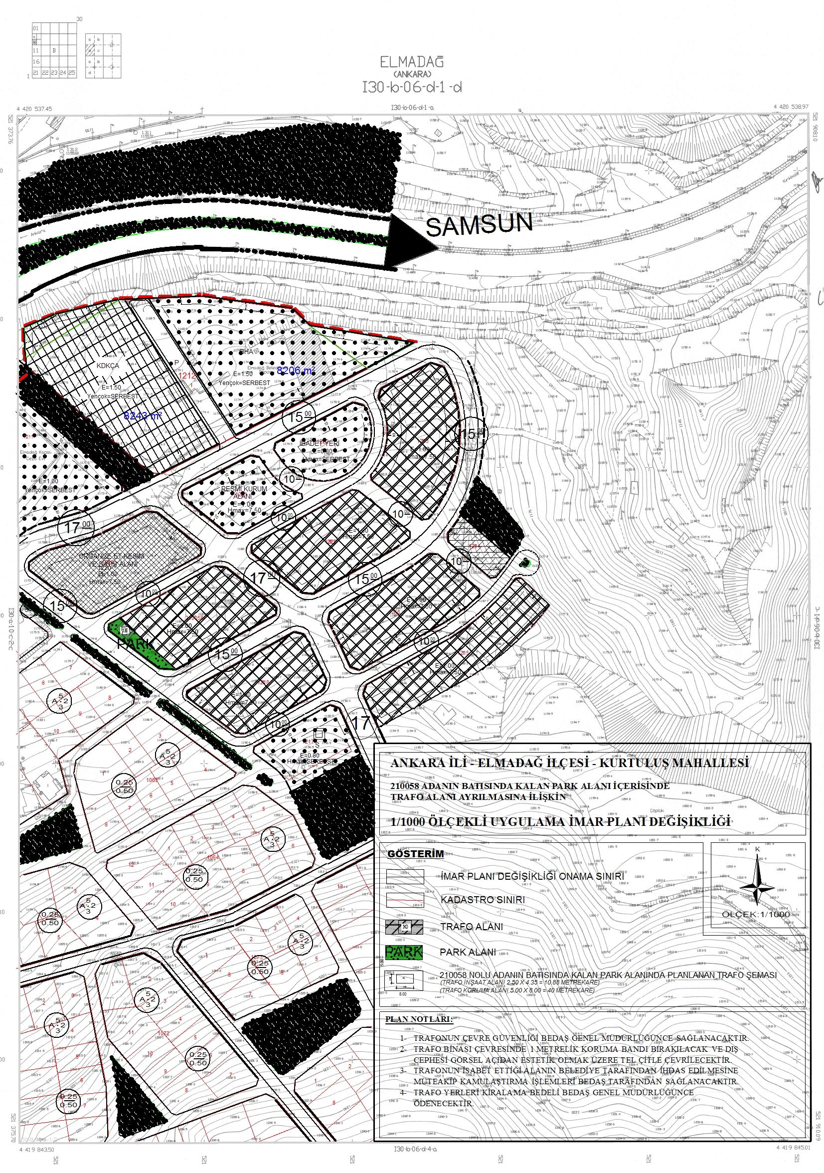 Kurtuluş Mahallesi 210058 ada batısında kalan park alanına trafo yeri ayrılmasına ilişkin hazırlanan imar planı değişikliği