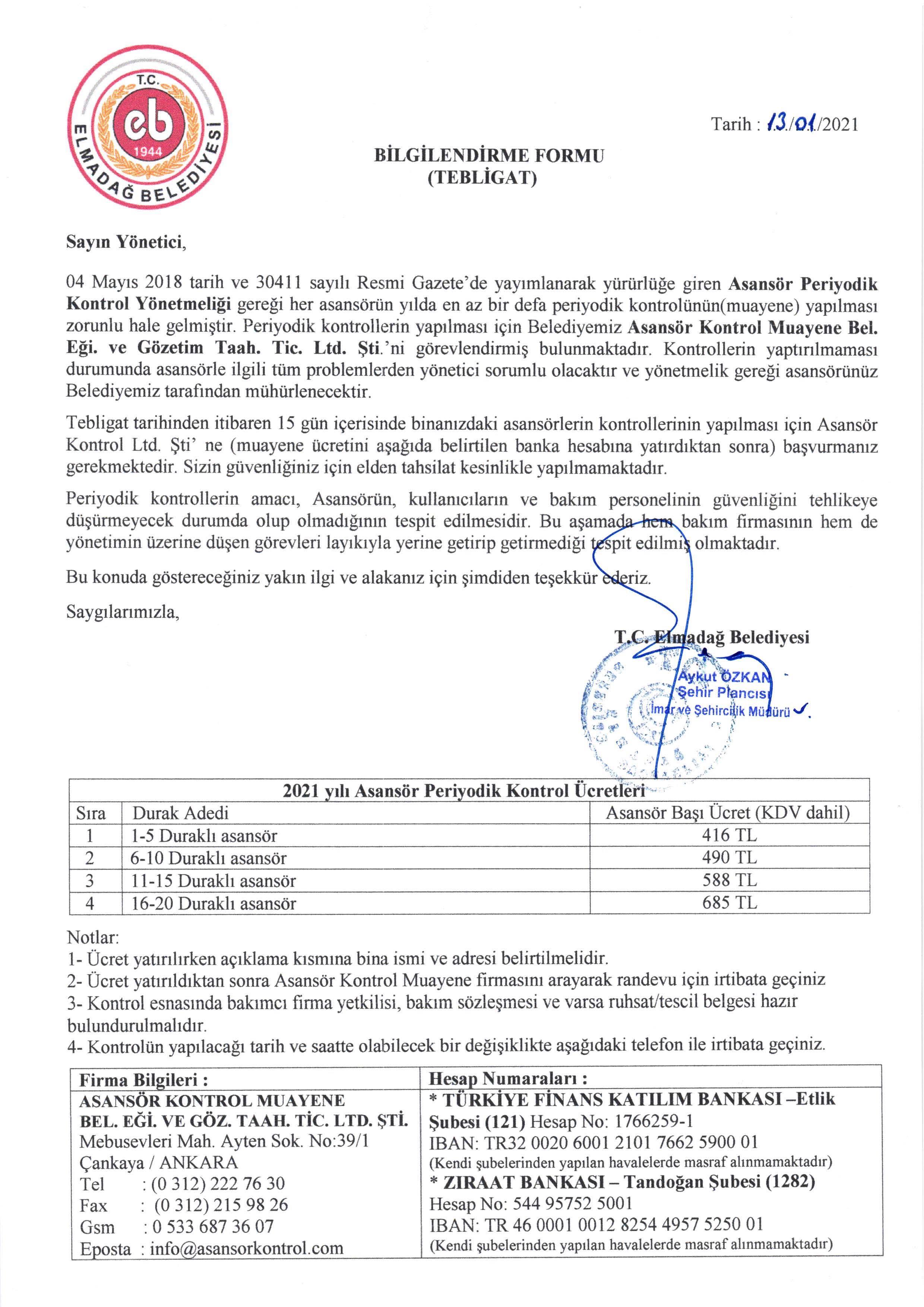 2021 Yılı Asansör Periyodik Kontrol Ücretleri