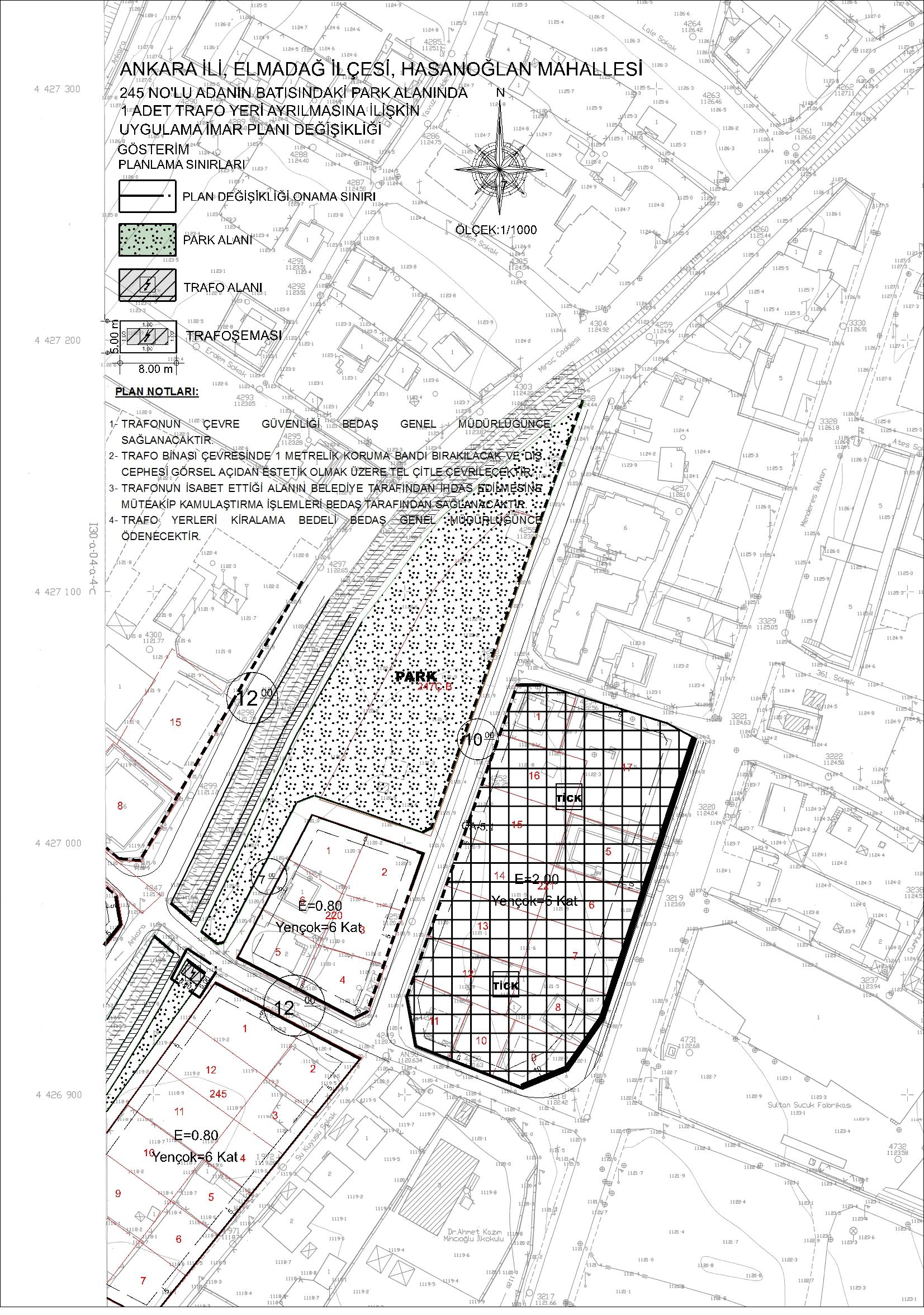 Bahçelievler Mahallesi 245 nolu adanın batısında bulunan park alanında trafo yeri ayrılmasına ilişkin UİPD
